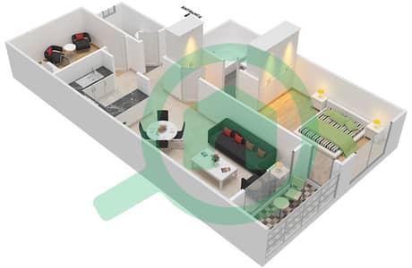 المخططات الطابقية لتصميم النموذج / الوحدة D/10 شقة 1 غرفة نوم - أبراج أحلام جولدكريست