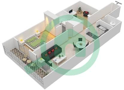 المخططات الطابقية لتصميم النموذج / الوحدة E/11 شقة 1 غرفة نوم - أبراج أحلام جولدكريست