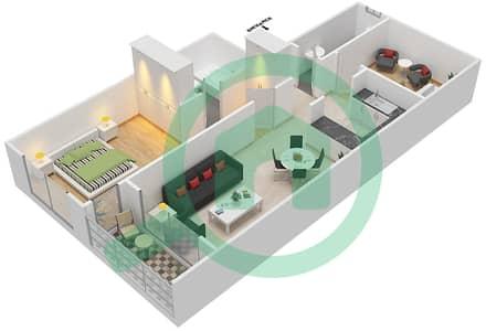 المخططات الطابقية لتصميم النموذج / الوحدة D/12 شقة 1 غرفة نوم - أبراج أحلام جولدكريست