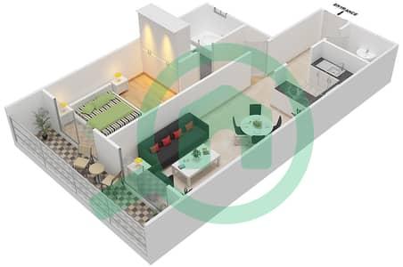 المخططات الطابقية لتصميم النموذج / الوحدة C/15 شقة 1 غرفة نوم - أبراج أحلام جولدكريست