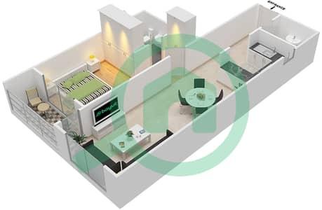 المخططات الطابقية لتصميم النموذج / الوحدة B/16 شقة 1 غرفة نوم - أبراج أحلام جولدكريست