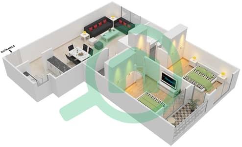 المخططات الطابقية لتصميم النموذج / الوحدة A/13 شقة 2 غرفة نوم - أبراج أحلام جولدكريست