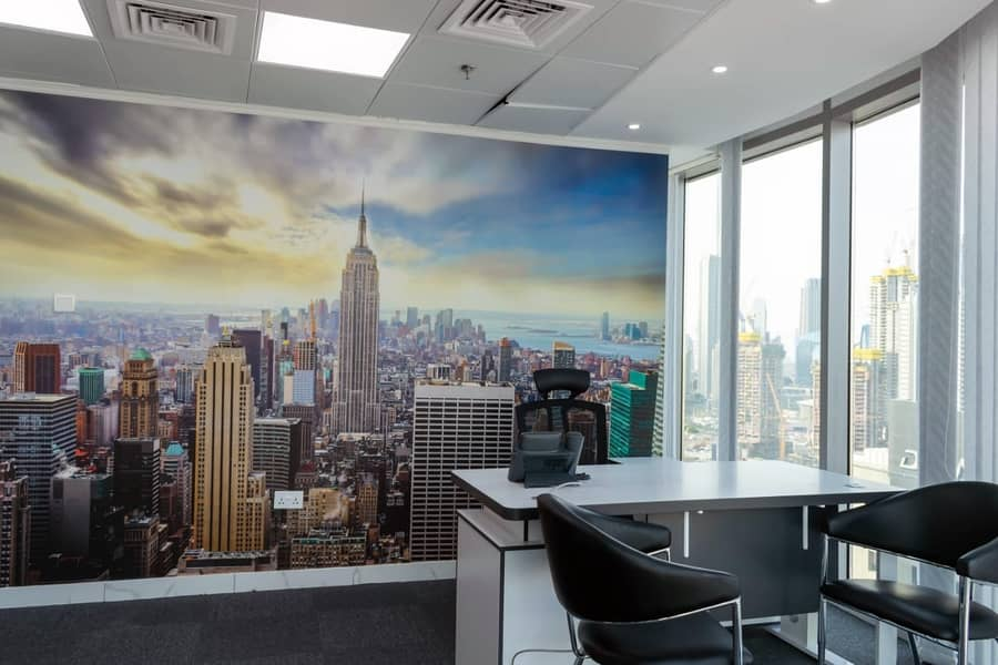 NO Commission! Furnished lake view offices with Ejari & Parking