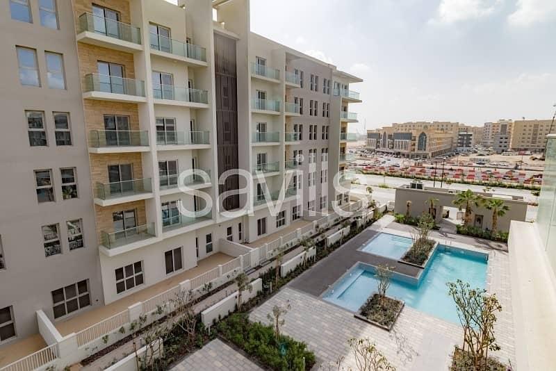 Ready corner apartment with L-shape balcony