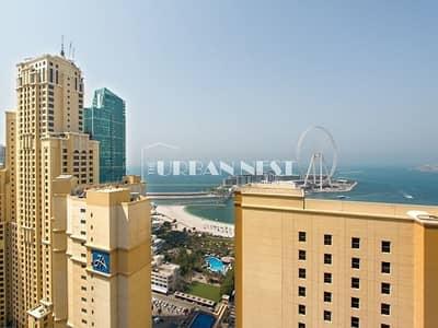 2 Bedroom Apartment for Rent in Jumeirah Beach Residence (JBR), Dubai - Full Sea View High Floor Unit Amwaj 4