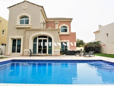 5 Bedroom Villa for Rent in Dubai Sports City, Dubai - Lovely C2 property with pool backing park
