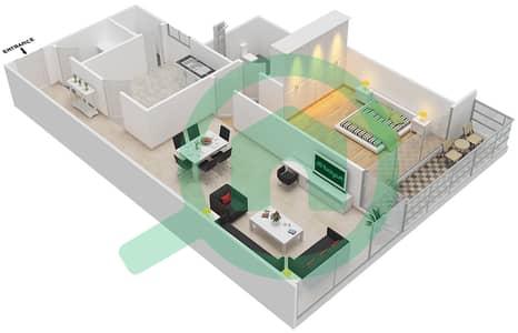 Bahwan tower - 1 Bedroom Apartment Unit 4 Floor plan