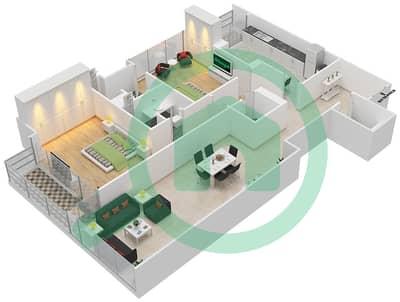 Bahwan tower - 2 Bedroom Apartment Unit 2 Floor plan