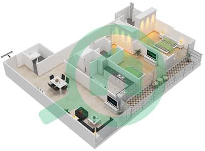 Bahwan tower - 2 Bedroom Apartment Unit 6 Floor plan