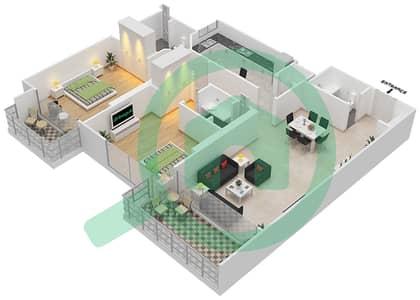 Bahwan tower - 2 Bedroom Apartment Unit 8 Floor plan