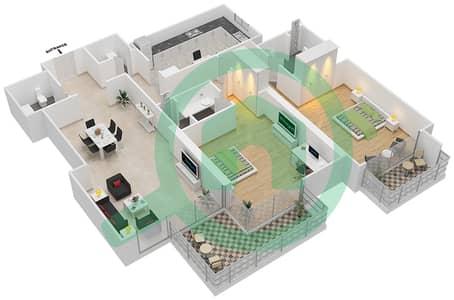 Bahwan tower - 2 Bedroom Apartment Unit 9 Floor plan