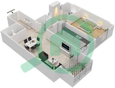 Bahwan tower - 1 Bedroom Apartment Unit 5 Floor plan