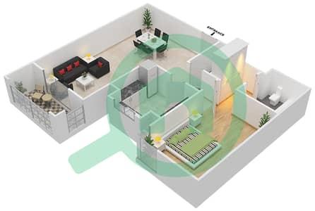 المخططات الطابقية لتصميم النموذج / الوحدة 1A/5 شقة 1 غرفة نوم - عزيزي ياسمين