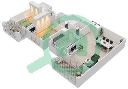 المخططات الطابقية لتصميم النموذج / الوحدة 1B/1 شقة 2 غرفة نوم - عزيزي ياسمين