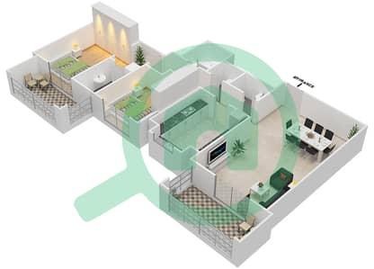 المخططات الطابقية لتصميم النموذج / الوحدة 5B/8 شقة 2 غرفة نوم - عزيزي ياسمين