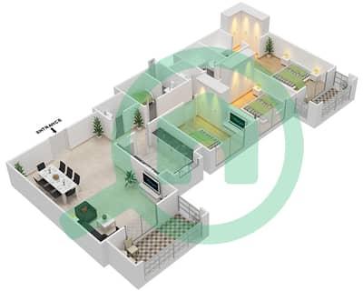 المخططات الطابقية لتصميم النموذج / الوحدة 1B/7 شقة 3 غرف نوم - عزيزي ياسمين