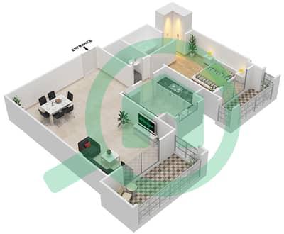 المخططات الطابقية لتصميم النموذج / الوحدة 3A/10 شقة 1 غرفة نوم - عزيزي ياسمين