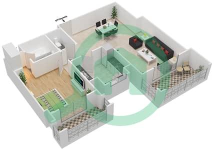 المخططات الطابقية لتصميم النموذج / الوحدة 4A/11 شقة 1 غرفة نوم - عزيزي ياسمين
