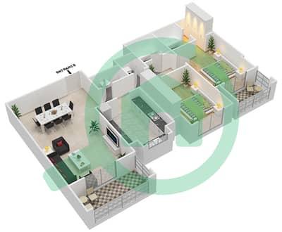 المخططات الطابقية لتصميم النموذج / الوحدة 2B/2 شقة 2 غرفة نوم - عزيزي ياسمين