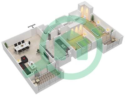 المخططات الطابقية لتصميم النموذج / الوحدة 3B/3 شقة 2 غرفة نوم - عزيزي ياسمين