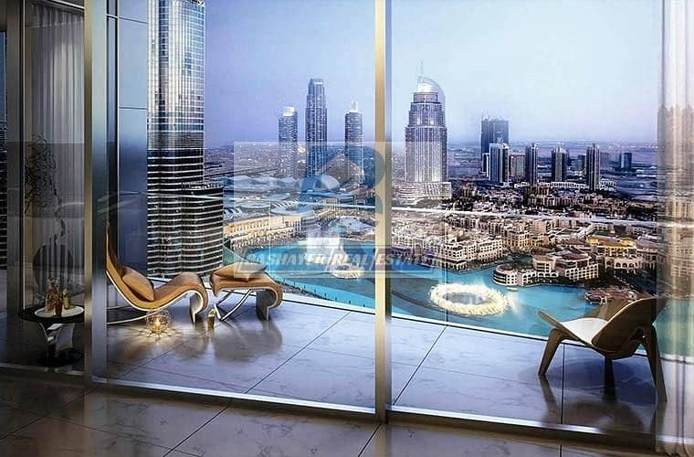 10 Luxurious. Half floor- Facing Burj Khalifa & Fountain - Top World Class- DLD waived- 5 Years Payment Plan