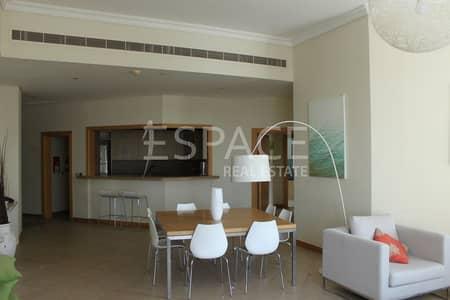 فلیٹ 3 غرفة نوم للايجار في نخلة جميرا، دبي - Vacant - Spacoius Living Area - High Floor