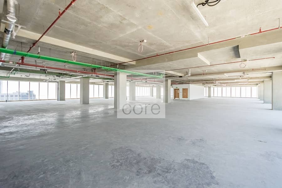 Full floor shell and core office spacious