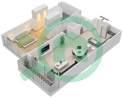المخططات الطابقية لتصميم النموذج C شقة 1 غرفة نوم - اويا رزيدنس