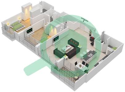 المخططات الطابقية لتصميم النموذج D شقة 2 غرفة نوم - اويا رزيدنس