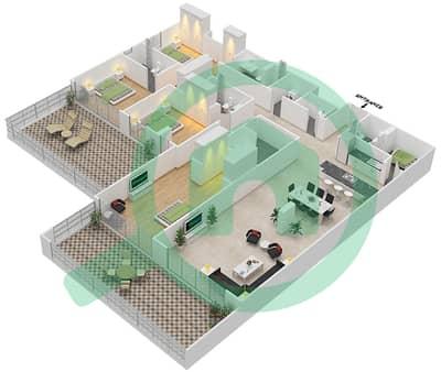 المخططات الطابقية لتصميم النموذج F شقة 4 غرف نوم - اويا رزيدنس