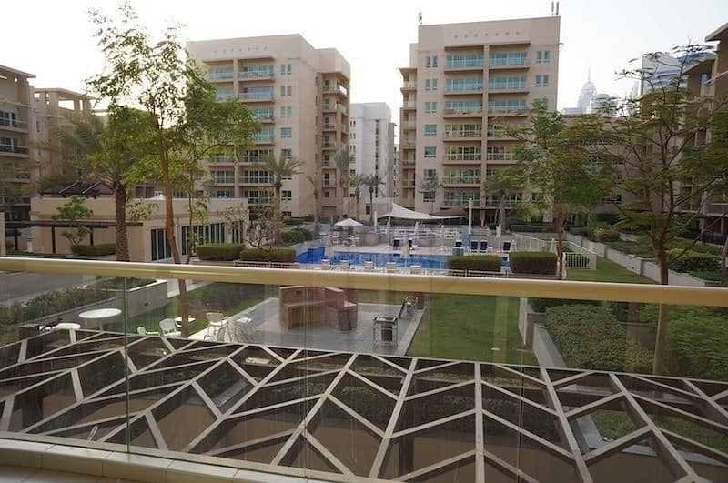 Furnished 2BR + Study   Facing Pool in Al Ghozlan
