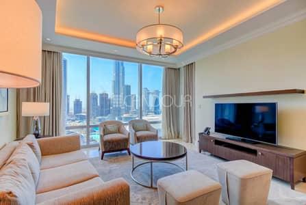 1 Bedroom Flat for Rent in Downtown Dubai, Dubai - Eye Level View Of Dubai Fountain | Serviced Unit