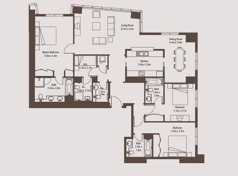 10 Three Bedroom | Burj Khalifa View | SR 6