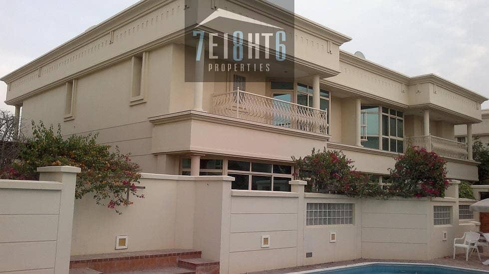 Beautifully presented: 4 b/r modern design compound villa + maids room + sharing s/pool + gym + sauna + large garden