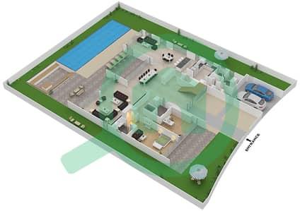 المخططات الطابقية لتصميم النموذج B3 فیلا 6 غرف نوم - غولف بلايس