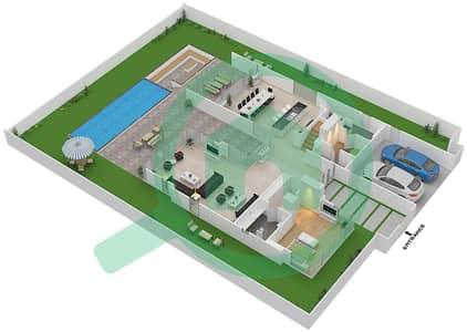 المخططات الطابقية لتصميم النموذج D1 فیلا 4 غرف نوم - غولف بلايس