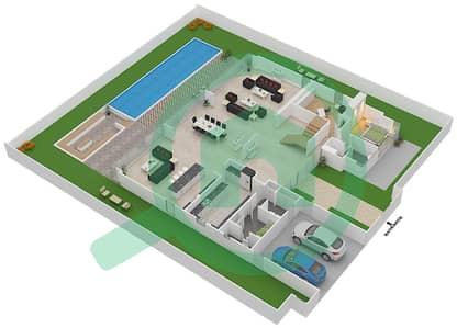 المخططات الطابقية لتصميم النموذج D3 فیلا 5 غرف نوم - غولف بلايس