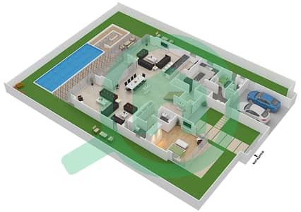 المخططات الطابقية لتصميم النموذج D2 فیلا 5 غرف نوم - غولف بلايس
