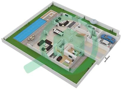 المخططات الطابقية لتصميم النموذج D4 فیلا 6 غرف نوم - غولف بلايس