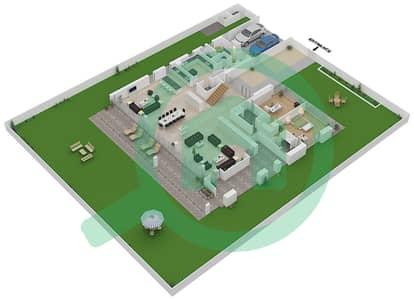 المخططات الطابقية لتصميم النموذج B1-C فیلا 6 غرف نوم - غولف بلايس