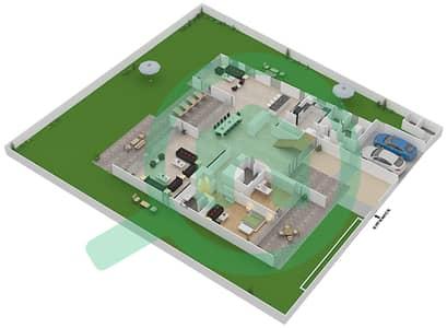 المخططات الطابقية لتصميم النموذج B3-A فیلا 6 غرف نوم - غولف بلايس