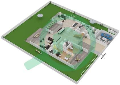 المخططات الطابقية لتصميم النموذج B3-B فیلا 6 غرف نوم - غولف بلايس