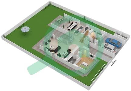 المخططات الطابقية لتصميم النموذج D1-A فیلا 4 غرف نوم - غولف بلايس