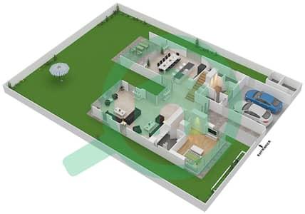 المخططات الطابقية لتصميم النموذج D1-C فیلا 4 غرف نوم - غولف بلايس