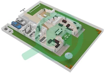 المخططات الطابقية لتصميم النموذج D2-C فیلا 5 غرف نوم - غولف بلايس
