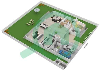 المخططات الطابقية لتصميم النموذج D3-A فیلا 5 غرف نوم - غولف بلايس