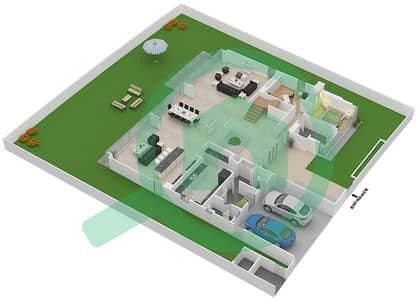 المخططات الطابقية لتصميم النموذج D3-B فیلا 5 غرف نوم - غولف بلايس