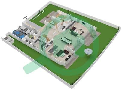 المخططات الطابقية لتصميم النموذج D4-B فیلا 6 غرف نوم - غولف بلايس