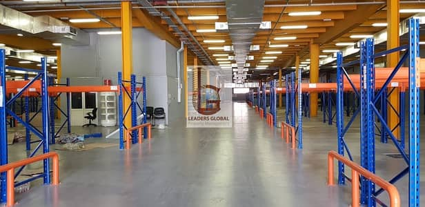 Warehouse for Rent in Mussafah, Abu Dhabi - Air conditioned and storage racks fitted in warehouse at prime location