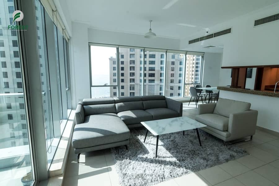 Fully Furnished 1 BR with Marina and Sea Views